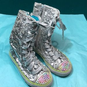 Twinkle toes hightop sketchers girl silver glitter